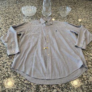 Men's Polo Button Up Long Sleeve Shirt Dry Cleaned